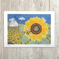 50% sale - Sunflower and bumblebee limited edition giclee print A4