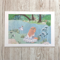 Riverbank scene art - 50% discount - girl and swan beside the river