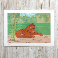SALE - 50% discount - Tiger print - zoo animal art picture of tiger