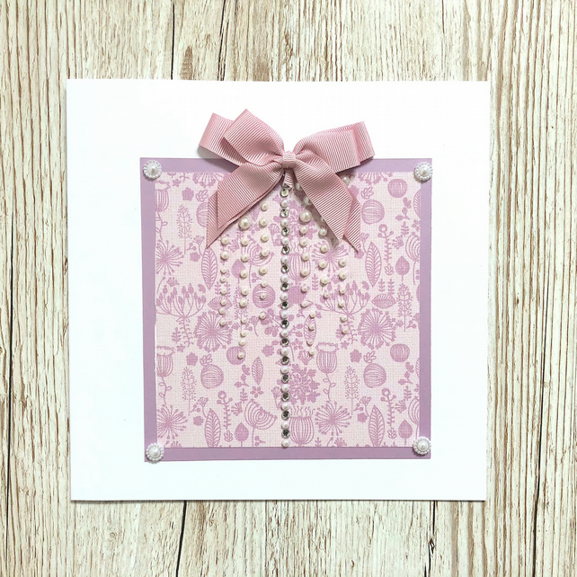 Handmade birthday card - lilac and pink