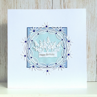 Birthday card - gorgeous design embellished with faux sapphires