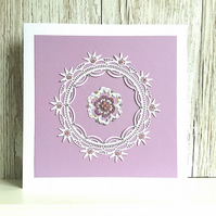 Birthday card - gorgeous mauve embellished with faux pink sapphires