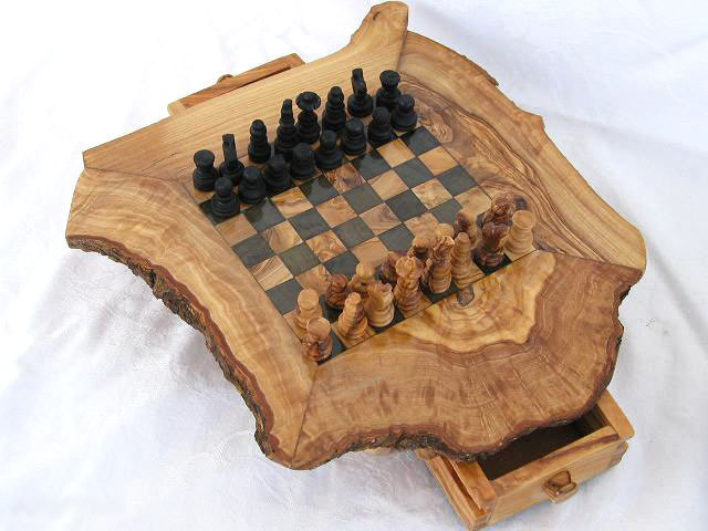 Olive Wood Unique Chess Table Folksy