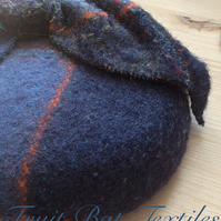 Hand woven fabric covered beret