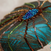 Hand Beaded Small Peacock Cocktail Hat
