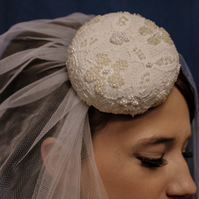 Small Lace Covered Beret with Hand Beaded Detailing (Veil seperate)