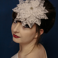 Large Stiffened Lace Flower Head Band