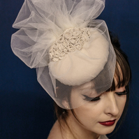 Medium Beret with Handmade Fabric Roses and Veiling.