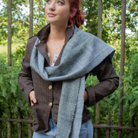 Blue and White Lambswool Scarf