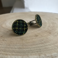 Large Green & Yellow Check Handwoven Fabric Cufflinks
