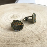 Grey, Yellow & Green Hand Painted Fabric Cufflinks