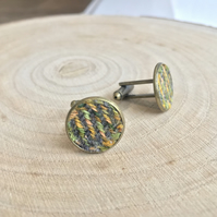 Green & Yellow Hand Painted Twill Fabric Cufflinks
