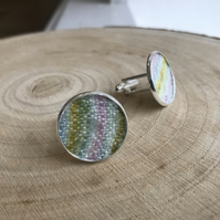Pastel Hand Painted Fabric Cufflinks