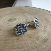 Black & White Herringbone Fabric Cufflinks
