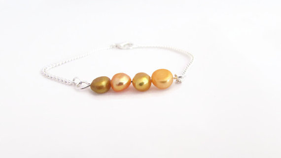 Yellow pearl bar bracelet, freshwater pearls on silver plated bar