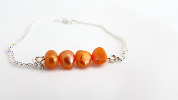 Orange pearl bracelet, bright freshwater pearl bar bracelet