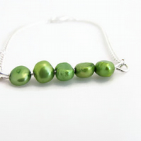 Freshwater pearl bracelet, spring green cultured pearl, silver plated bracelet