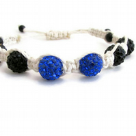 Glittery shamballa bracelet, black and blue macrame braid bracelet