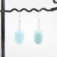 Amazonite and sterling silver earrings, mint green gemstone earrings