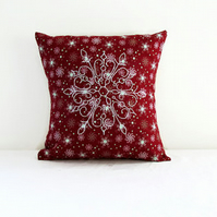 Small Christmas cushion cover, hand embroidered snowflake