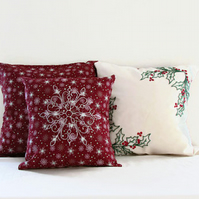 Christmas cushion set, hand embroidered decorative pillow covers