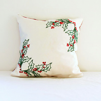 Hand embroidered Christmas cushion cover, holly design with red berries