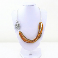 Autumn colours necklace, seed bead and chain necklace