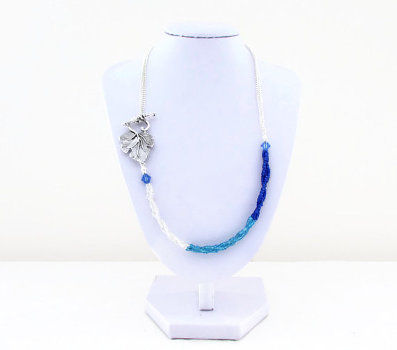 Blue ombre necklace, seed bead and chain necklace