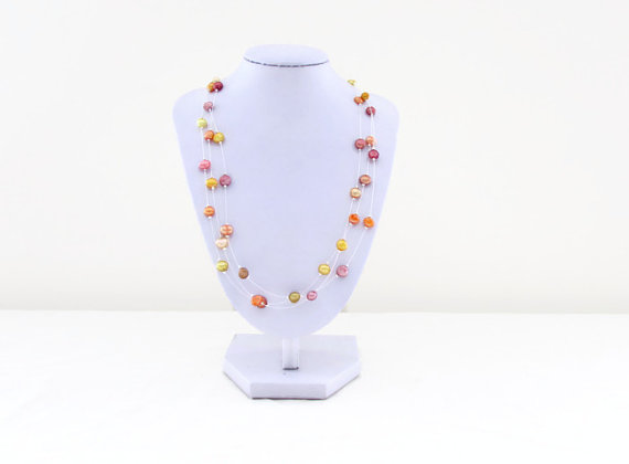 CLEARANCE Freshwater pearl necklace, orange yellow pearl illusion necklace