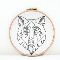 Wolf head wall hanging, hand embroidery