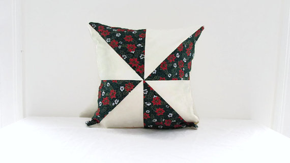Christmas patchwork cushion, green festive cushion cover, 16 inches.