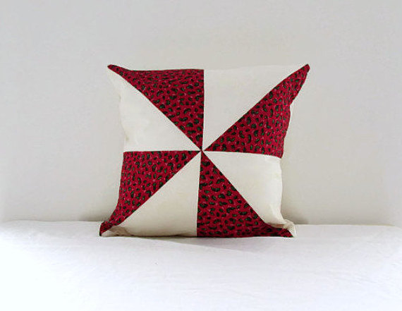Christmas patchwork cushion, red festive cushion cover, 16 inches.