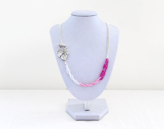 Pink ombre necklace, seed bead and chain necklace