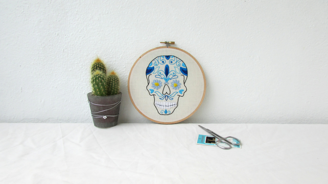 Sugar skull embroidery hoop