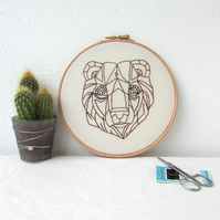 Bear embroidery hoop, hand embroidery hanging decoration