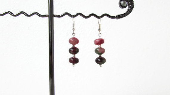Rosy apple jade earrings, sterling silver and jade earrings