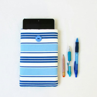Fabric kindle case, 7 inch tablet sleeve, blue striped fabric