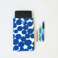 Fabric kindle case, 7 inch tablet sleeve, blue spot fabric