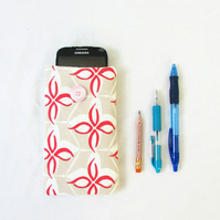Iphone 6, 7 or 8 phone cover, abstract flower print fabric