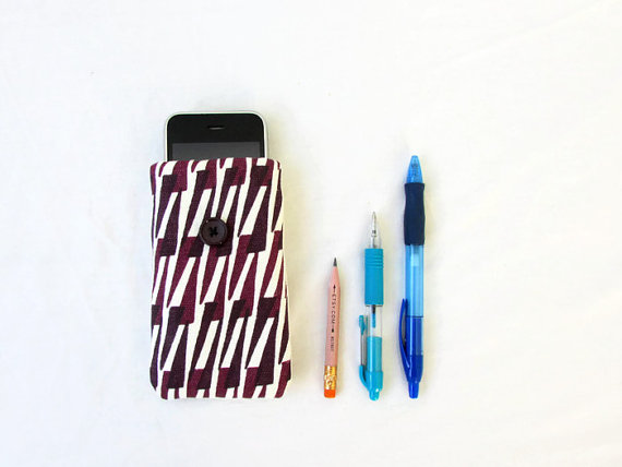 Small phone case, purple hand printed fabric cover for IPhone 3, 4, 5c, 5s,