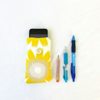 Small phone case, yellow hand printed fabric cover for IPhone 3, 4, 5c, 5s,