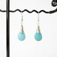 Aqua Quartzite and sterling silver earrings, wire wrapped earrings