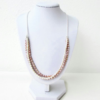 Freshwater pearl bridal necklace, pink, cream and bronze tiny pearls