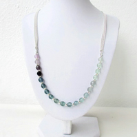 Rainbow fluorite necklace, blue and purple gemstone with silver
