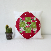 Pink patchwork cushion, quilted pillow cover, pink and green