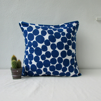 Blue spotty cushion cover, 16 inch square