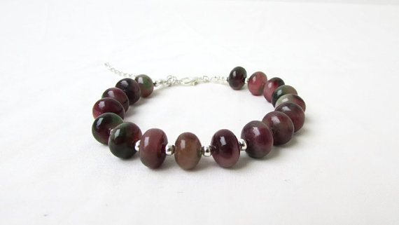 Jade bracelet, Unusual gemstone, rosy apple jade