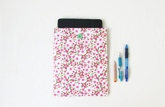 Ipad tablet case, pink flower fabric