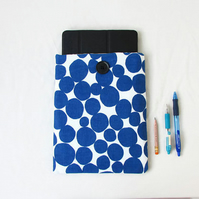 Ipad or Ipad Air tablet case, blue spotty fabric