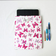 Ipad or Ipad Air tablet case, pink butterfly fabric
